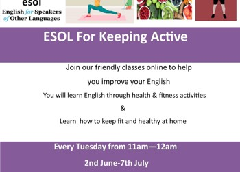 ESOL for Keeping Active online course - from 2nd June