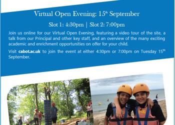 Open Afternoons/Virtual Open Evening - John Cabot Academy