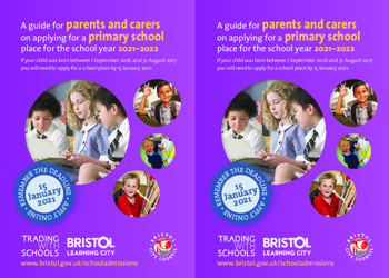 Apply for your child's Primary School place now - deadline 15/01/21