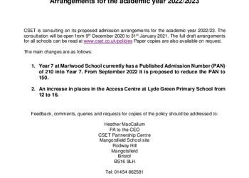 CSET Consultation on Admission Arrangements - Primary Schools