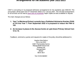 CSET Consultation on Admission Arrangements - Primary Schools